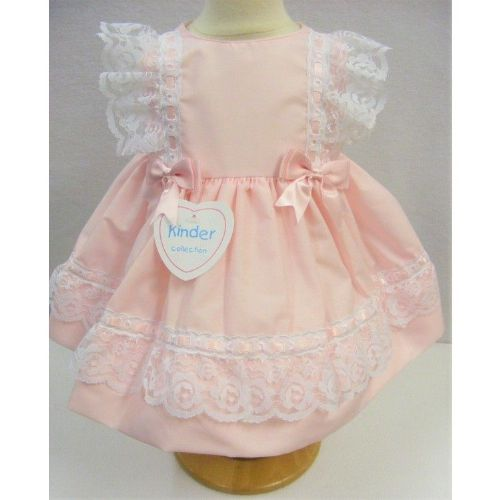 Pastel Pink Slot Ribbon & Lace Dress
